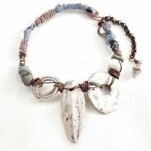 Artisan Polymer Faux Fossil Statement Necklace